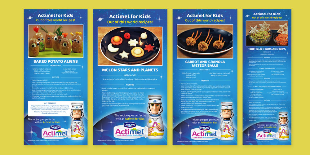 Actimel Recipe Cards by Aaron Buckley