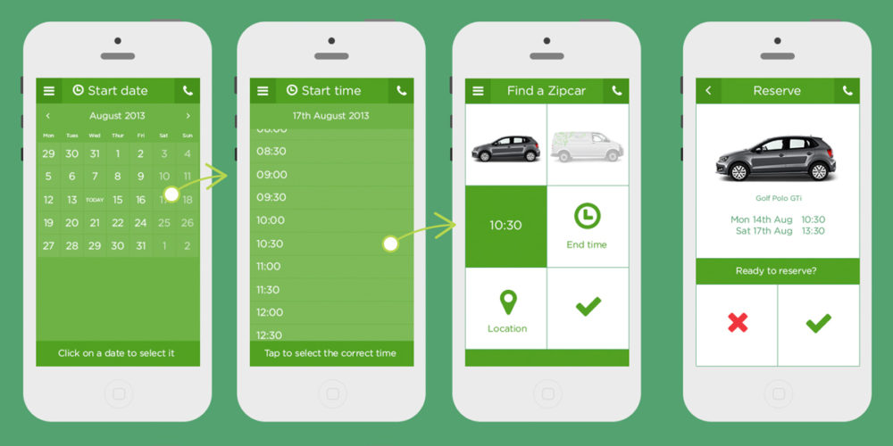 Zipcar App UI by Aaron Buckley
